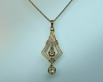An Antique Hand-constructed 14k Yellow gold and Diamond Art Nouveau Pendant. (A1123)