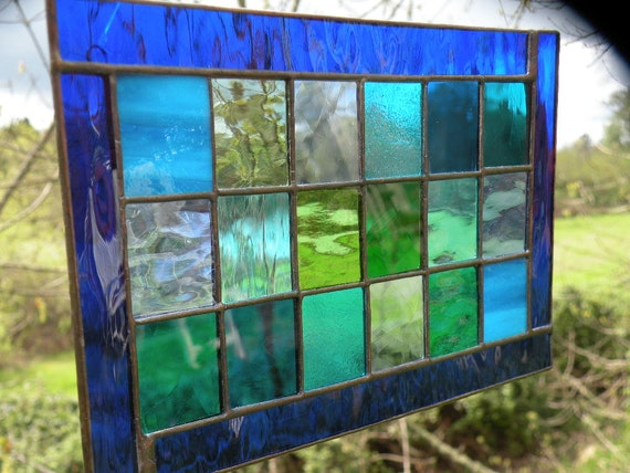 Glass window panel blue green teal