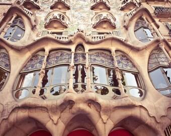 Barcelona, Spain Photograph. Casa Batlló by Gaudi. Passeig de Gràcia 8x12