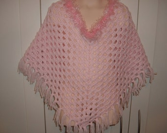 Baby/Toddler Pink Crocheted Poncho