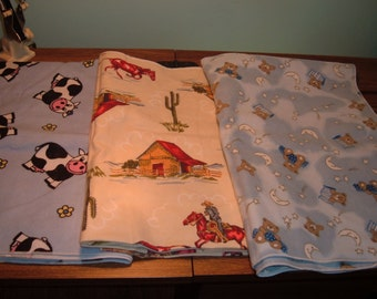 3 Flannel Blankets for Baby
