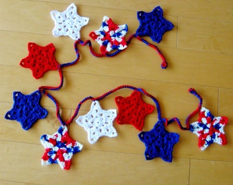 Garland July 4th Star Yarn Crochet Patriotic Independence Day Decoration Red White and Blue