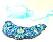 Dazzling Blue on Blue Beaded Bib Necklace