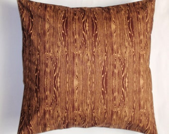"Throw Pillow Covers, Accent Pillow, Decorative Yellow Cushion, Bark Brown Pillow Cover in Wood Grain, Joel Dewberry Fabric, 16x16"" Square"