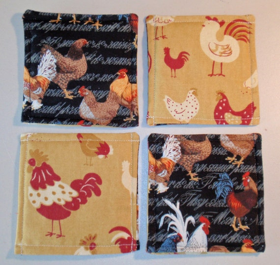 "Drink Coasters 5x5"" Set of 4 - Waverly's Hen House & Patty Reed's Chicken Coop - Reversible Coasters - Cloth Drink Coasters - Mug Mat"