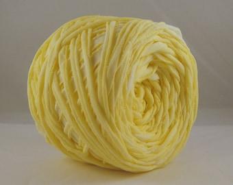 T Shirt Yarn Hand Dyed- Washed Lemon 60 Yards