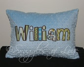 Blue and Green Boys Pillow - Personalized Minky Throw Pillow - Name Pillow - Decorative Monogrammed Throw Pillow, Made to MATCH YOUR BEDDING