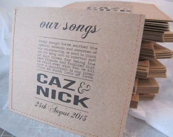 Kraft personalized cd sleeve wedding favor ANY COLOR {pack of 140}