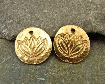 Rose Gold Lotus - Rustic Artisan Rose Gold Vermeil Disk Charms - One Pair - chlrgv