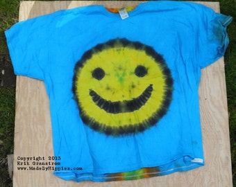 Yellow Smiley Face on Blue Tie Dye T-Shirt (Fruit of the Loom Size 4XL) (One of a Kind)