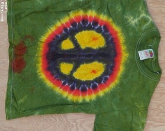 Peace Sign Tie Dye T-Shirt (Fruit of the Loom Size Youth M 10-12) (One of a Kind)