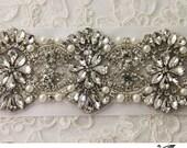 "Wedding sash 24"", Bridal belt , Bridal sash - satin ribbon with crystal and rhinestone beaded applique, custom color"