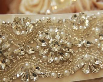"Bridal Sash 11"", Wedding Sash Belt, Bridal Sash Belt, Rhinestone Wedding Sash, Pearl Sash"
