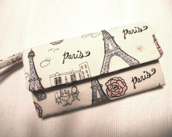 Paris Life and Pink Dots Wallet / Wristlet / Clutch / Cell Phone Pouch / Checkbook  / Bridesmaids Gifts