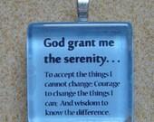 Serenity Prayer Glass Tile Pendant