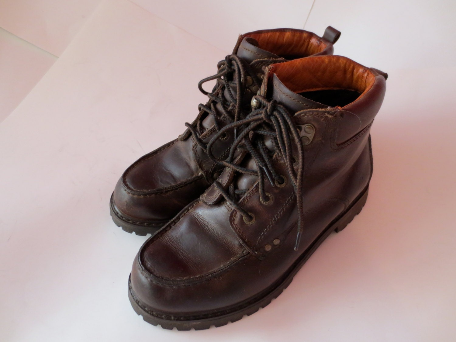 vintage brown leather hiking boots lace by