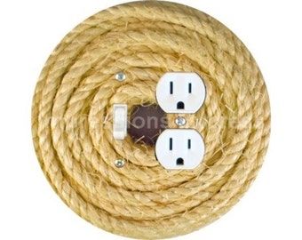 Nautical Sisal Rope Toggle Switch and Duplex Outlet Double Plate Cover