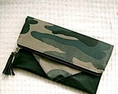 Fold Over Clutch Green and Grey - Military Camouflage Spring Trend