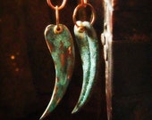 Leaf earrings patina brass long  tribal dangles 'Distant Past'
