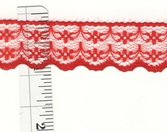 7/8 inch wide red lace trim 30 yds (D9024)