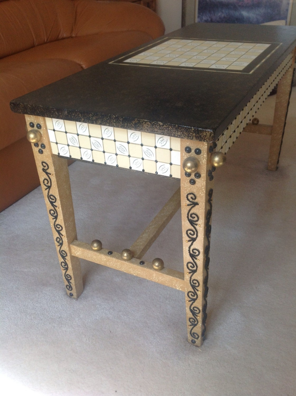 Bench Coffee Table Game Table Storage Table Hand Painted