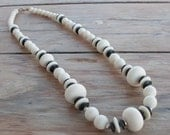 Vintage Graduated Cream Black and Gold Tone Necklace with Large Matte Cream Beads