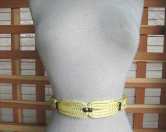 50s PALE YELLOW Rayon Cord Belt With Adjustable Waist Sz 26 to 40 Waist