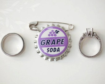 CLEARANCE : Ellie Badge Grape Soda Pin - LP - Personalized - Bottle Cap - Wedding Groom Gift - Boy Girl Scouts
