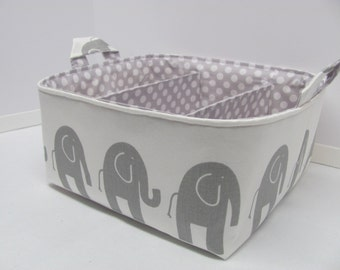 Fabric Diaper Caddy - Storage Container Basket - Organizer Bin - Tote Bag - Bucket - Baby Gift - Nursery - White/Grey Elephants