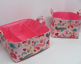 50% OFF SALE - Caddy and Basket Set / Fabric Organizers Storage Container Bins - Nursery Decor - Baby Gift - Pink Owl Friends - RTS