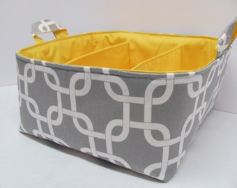 Fabric Diaper Caddy - Storage Container Basket - Organizer Bin - Tote Bag - Bucket - Baby Gift - Nursery - Geometric Grey