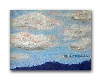 Clouds Painting 8x10 Fine Art for Sale Oil on Canvas Modern Traditional Decor Contemporary Wall Decor Modern Apartment Nature Mountains Sky