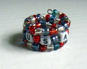 Red, White and Blue Beaded Memory Wire Ring