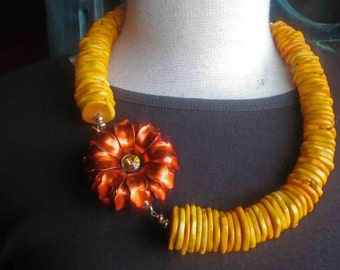 Orange Vintage Flower Brooch Necklace - Magnesite Flat Disk Beads - Sunrise