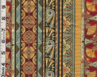 Fabric Kaufman VALLEY of the  KINGS EGYPTIAN  Vertical Stripe Lotus Jewel colorway Metallic Gold oop Rare 1/2 yard incr.