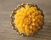 Yellow flower filigree ring