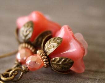 Peach vintage inspired blossom earrings