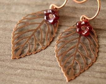 The Last Leaf copper earrings