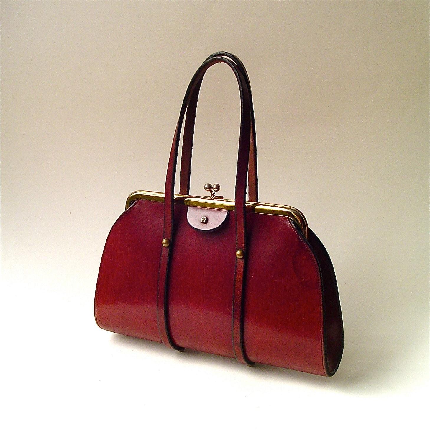 Mid Century Vintage Etienne Aigner Oxblood Leather Handbag