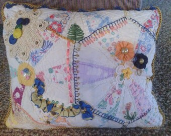 Blue Multi Crazy Quilt Pillow