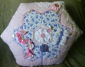 Pink and Blue Hexagon Crazy Quilt Pillow
