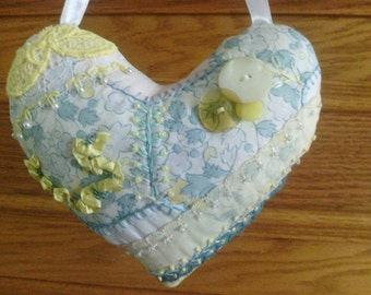 Small Lemon Aqua Blue Heart Crazy Quilt Pillow