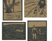 4 Pack of Summer Series Linocut Cards - Black Ink on Brown