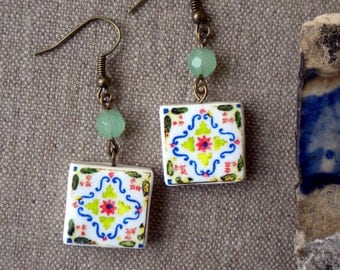 Antique Azulejo Tile Replica Earrings from ARADA Portugal - Orange Green Red (see photo of actual Facade)  Waterproof - reversible 632