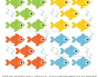 Fish Wall Decal Set of 20 with bonus water bubbles - under the sea decals - Wall Decal for childrens bedroom - school of fish wall decals