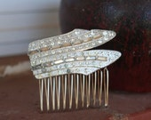 H1 ART DECO Rhinestone Hair Comb Vintage Upcycled BRIDAL