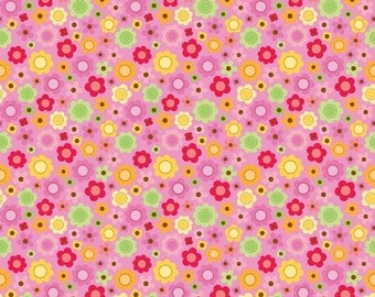 WINTER SALE - FLANNEL - Ladybug Garden -  Flowers in Pink - 1 Yard - Sku F3251 - by Doodlebug Designs for Riley Blake Designs
