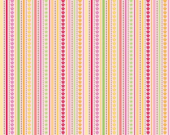 SALE - 1 3/8 Yards - FLANNEL - Ladybug Garden -  Stripe in Pink - Sku F3253 - by Doodlebug Designs for Riley Blake Designs