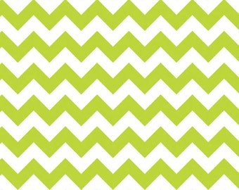 SUMMER SALE - 1 3/8 yards - Small Chevron Stripe in Lime - C340-32 - by Riley Blake Designs