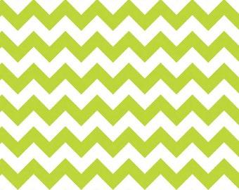 SPRING SALE - Small Chevron Stripe in Lime - 1 yard - sku C340-32 - by Riley Blake Designs